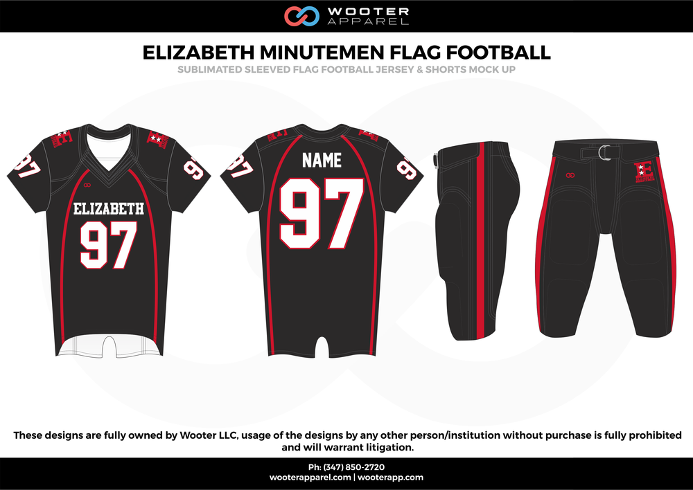 ELIZABETH MINUTEMEN FLAG FOOTBALL black red white flag football uniforms jerseys pants
