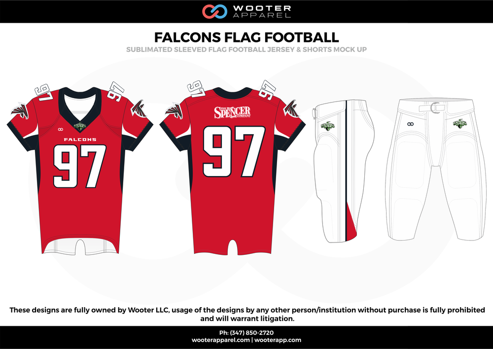 FALCONS FLAG FOOTBALL red black white flag football uniforms jerseys pants