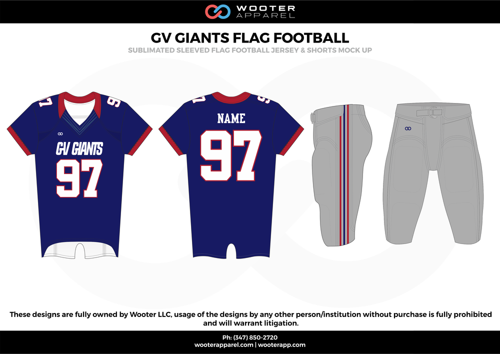 GV GIANTS FLAG FOOTBALL blue gray red white flag football uniforms jerseys pants
