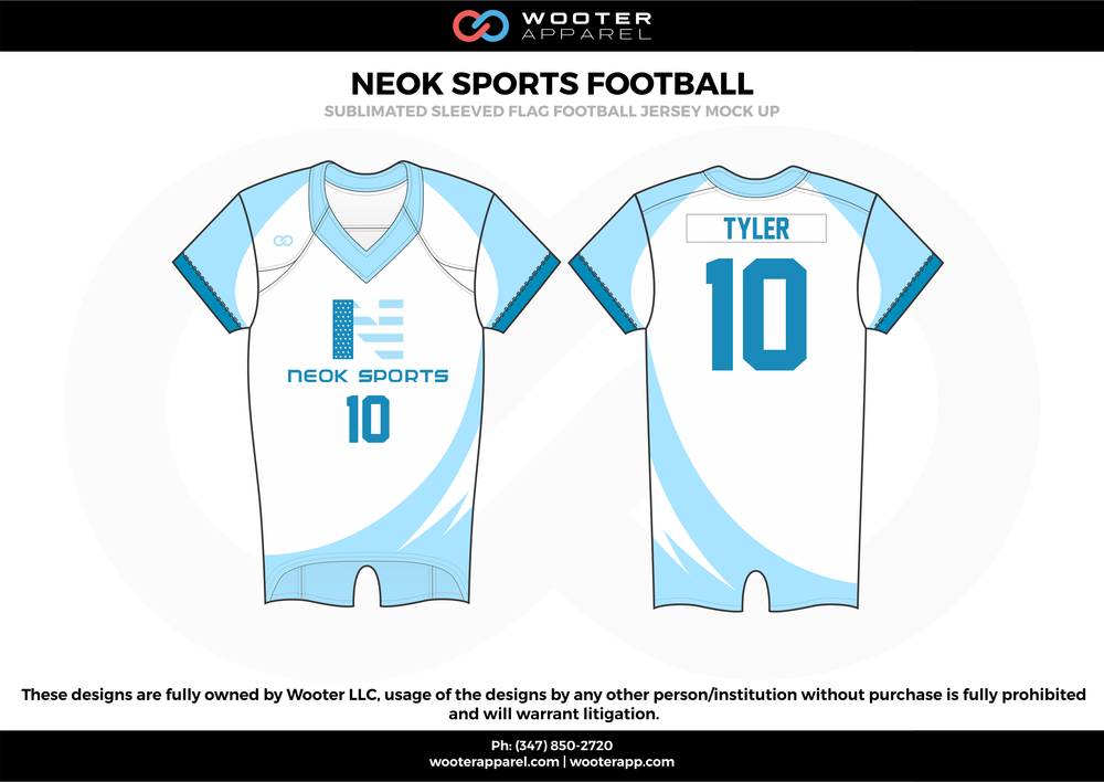 NEOK SPORTS FOOTBALL white blue flag football uniforms jerseys top