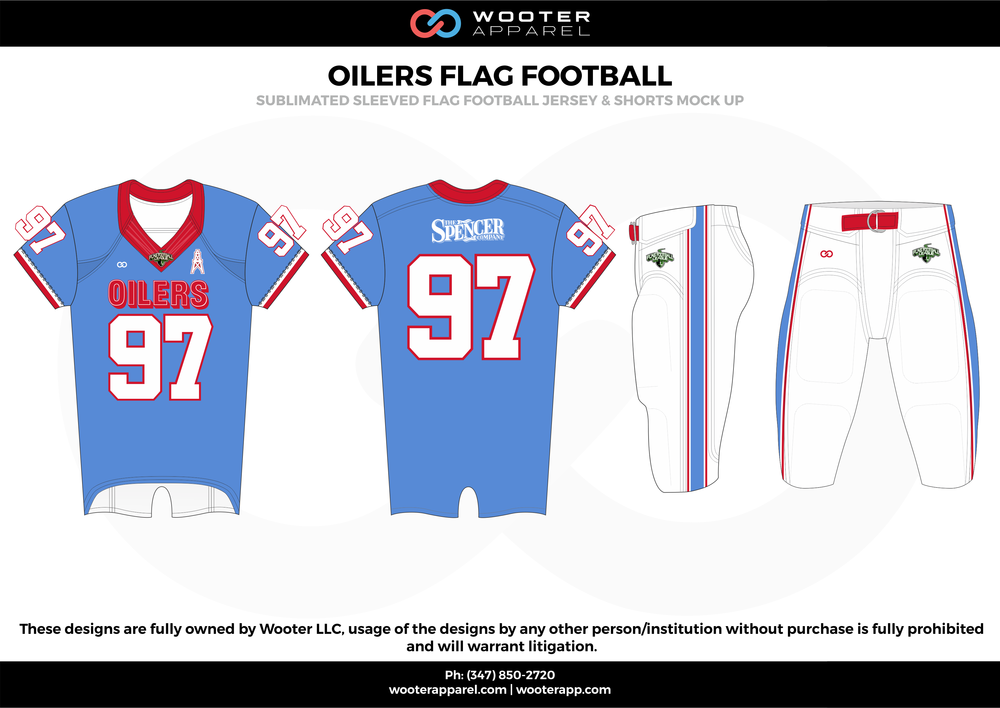 OILERS FLAG FOOTBALL blue red white flag football uniforms jerseys pants
