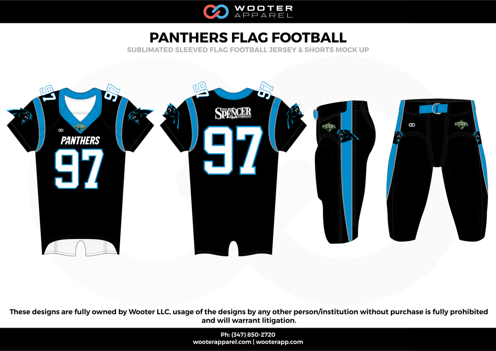 PANTHERS FLAG FOOTBALL black blue white flag football uniforms jerseys pants