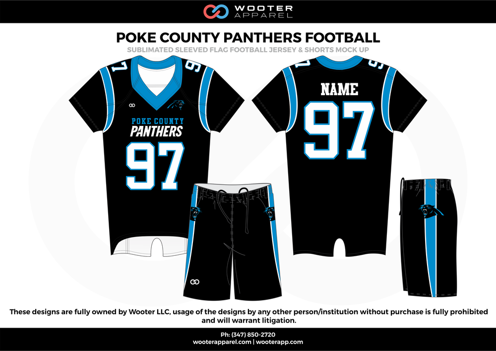 POKE COUNTY PANTHERS FOOTBALL black blue white flag football uniforms jerseys shorts
