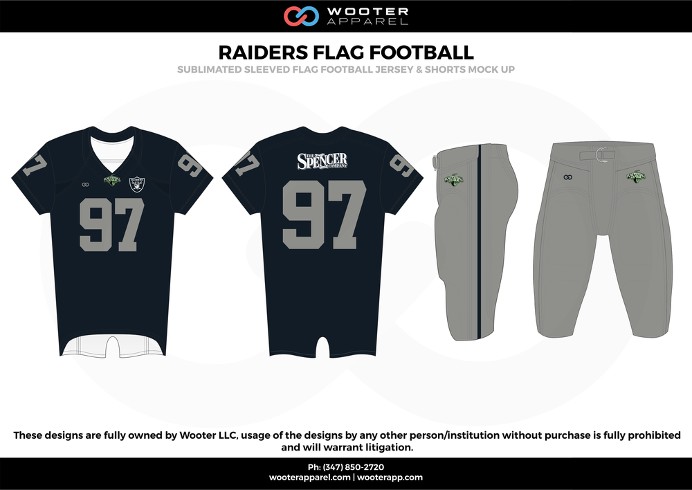 RAIDERS FLAG FOOTBALL black gray white flag football uniforms jerseys pants