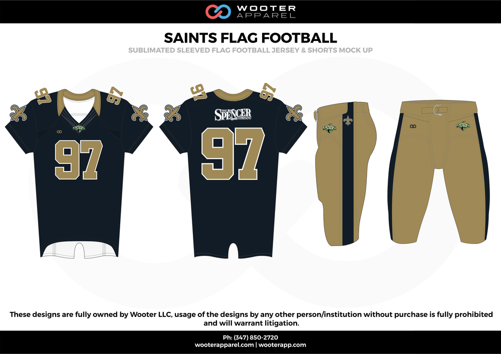 SAINTS FLAG FOOTBALL black beige white flag football uniforms jerseys pants