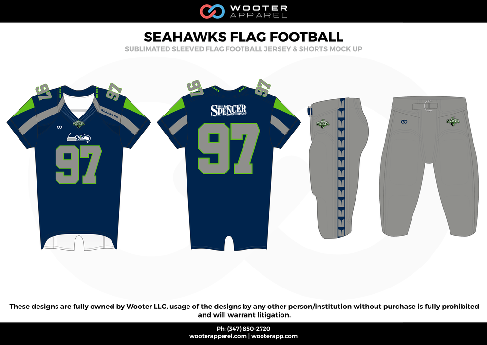 SEAHAWKS FLAG FOOTBALL blue gray green flag football uniforms jerseys pants