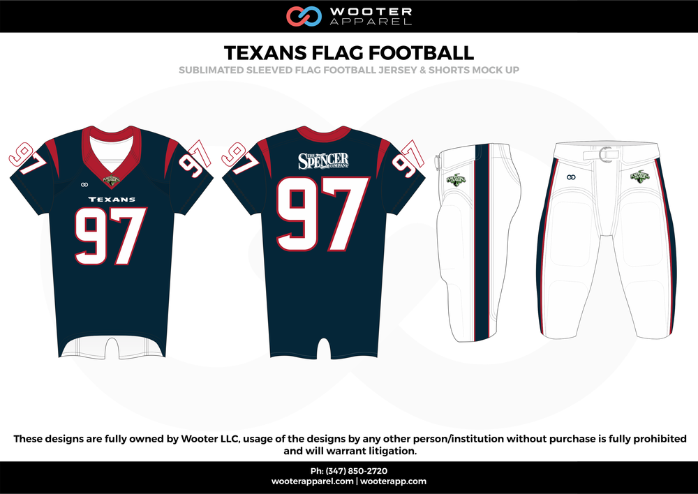 TEXANS FLAG FOOTBALL blue white red flag football uniforms jerseys pants