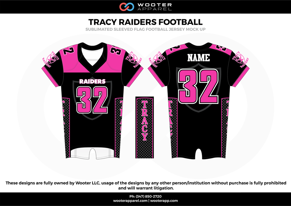 TRACY RAIDERS FOOTBALL pink black white flag football uniforms jerseys tops