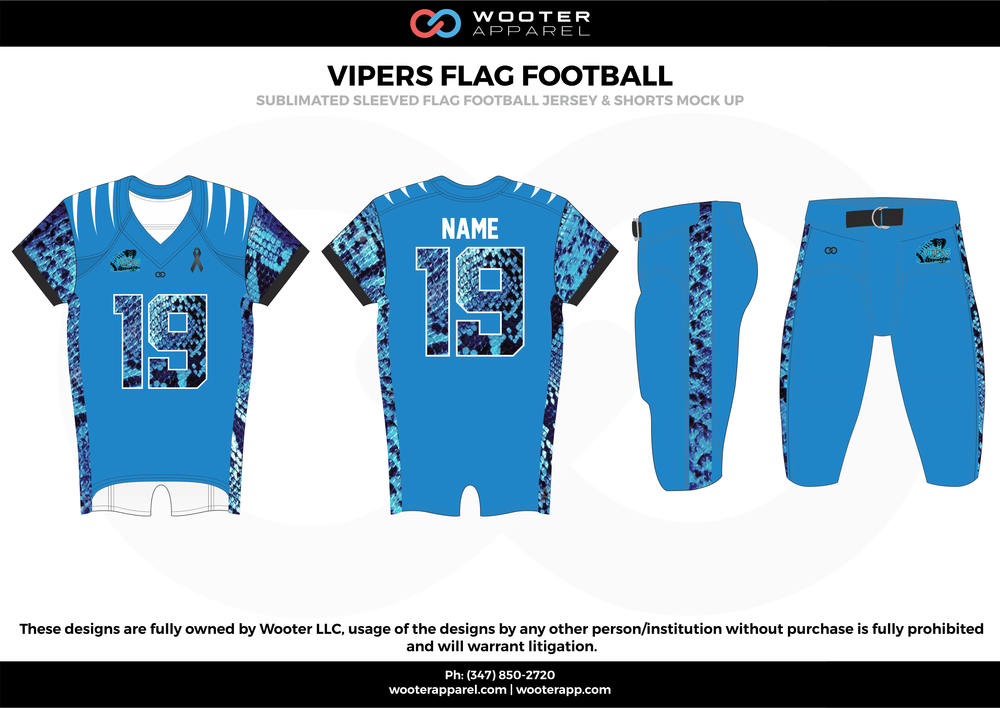 VIPERS FLAG FOOTBALL blue black white flag football uniforms jerseys pants