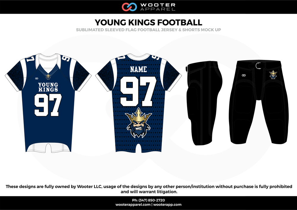 YOUNG KINGS FOOTBALL blue black white flag football uniforms jerseys pants