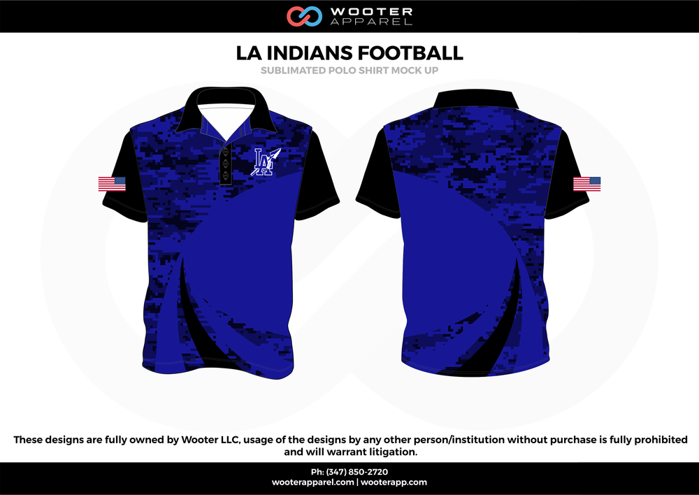 LA INDIANS FOOTBALL blue black white Polo Shirts