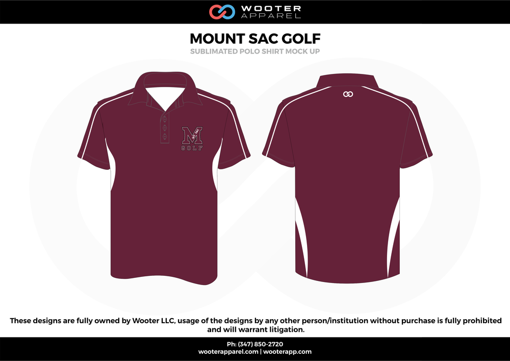 MOUNT SAC GOLF maroon white Polo Shirts