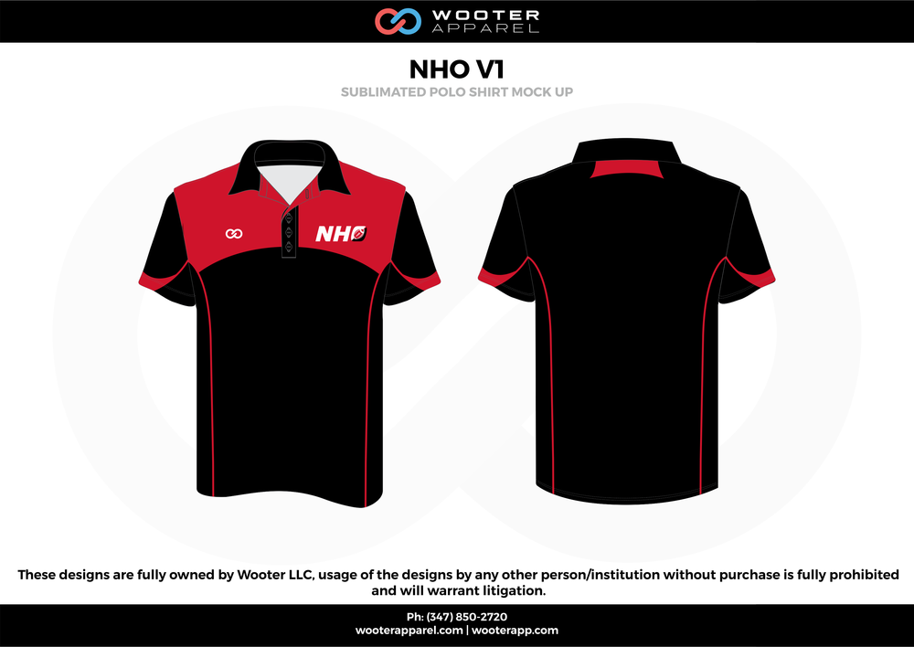 NHO VI black red white Polo Shirts