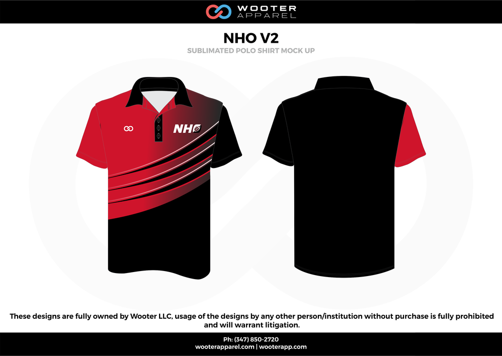 NHO V2 black red white Polo Shirts