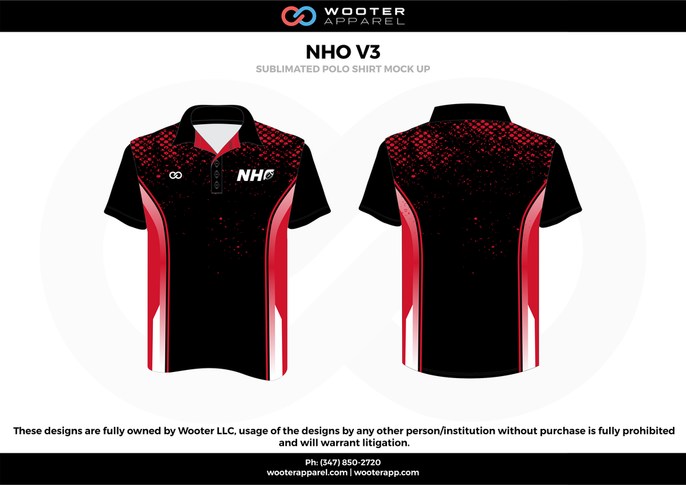 NHO V3 black red white Polo Shirts