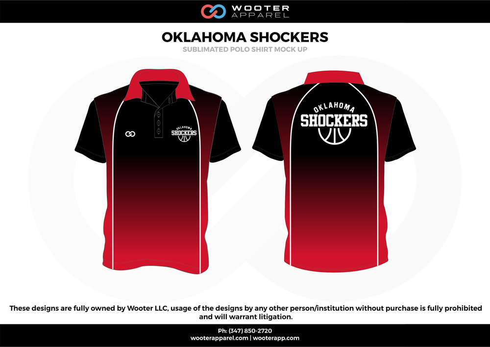 OKLAHOMA SHOCKERS red black white Polo Shirts