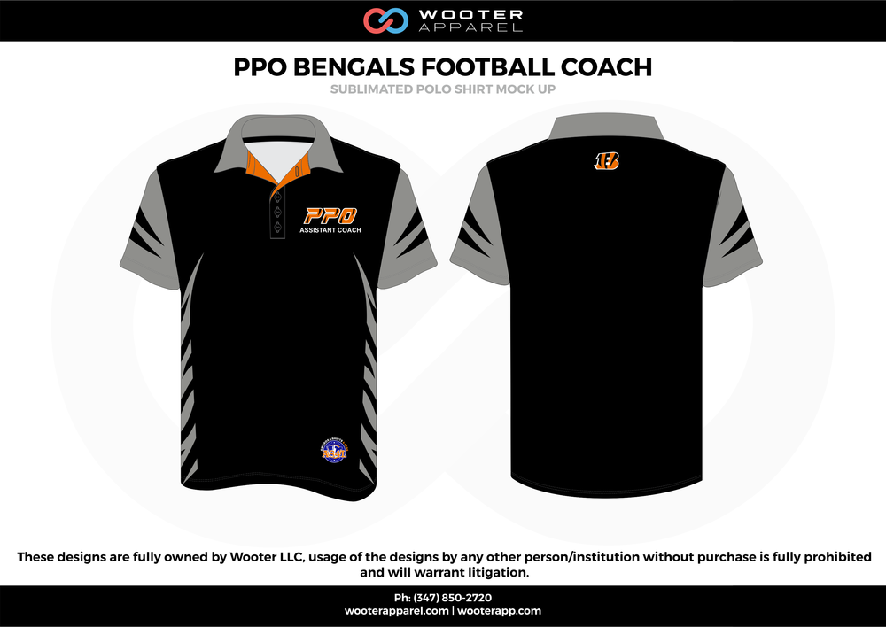 PPO BENGALS FOOTBALL COACH black gray orange Polo Shirts