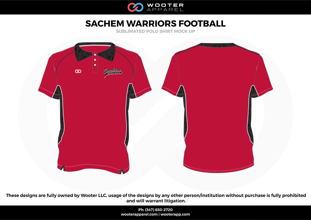 SACHEM WARRIORS FOOTBALL red black gray Polo Shirts
