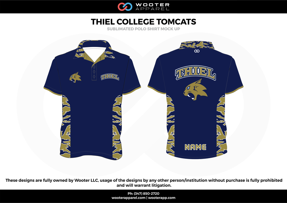 THEIL COLLEGE TOMCATS navy blue beige gray white Polo Shirts