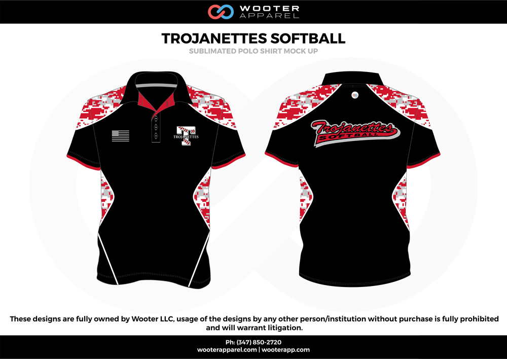 TROJANETTES SOFTBALL black red white Polo Shirts