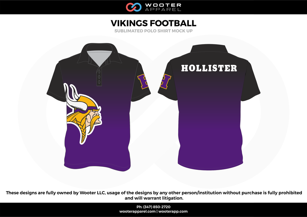 VIKINGS FOOTBALL purple black white yellow Polo Shirts