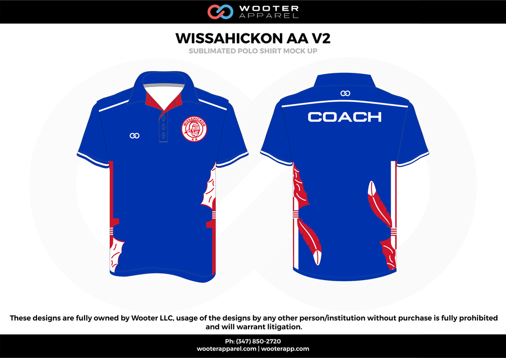 WISSAHICKON AA V2 blue red white Polo Shirts