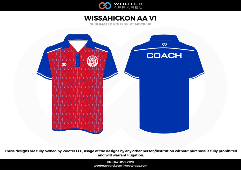 WISSAHICKON AA VI red blue white gray Polo Shirts