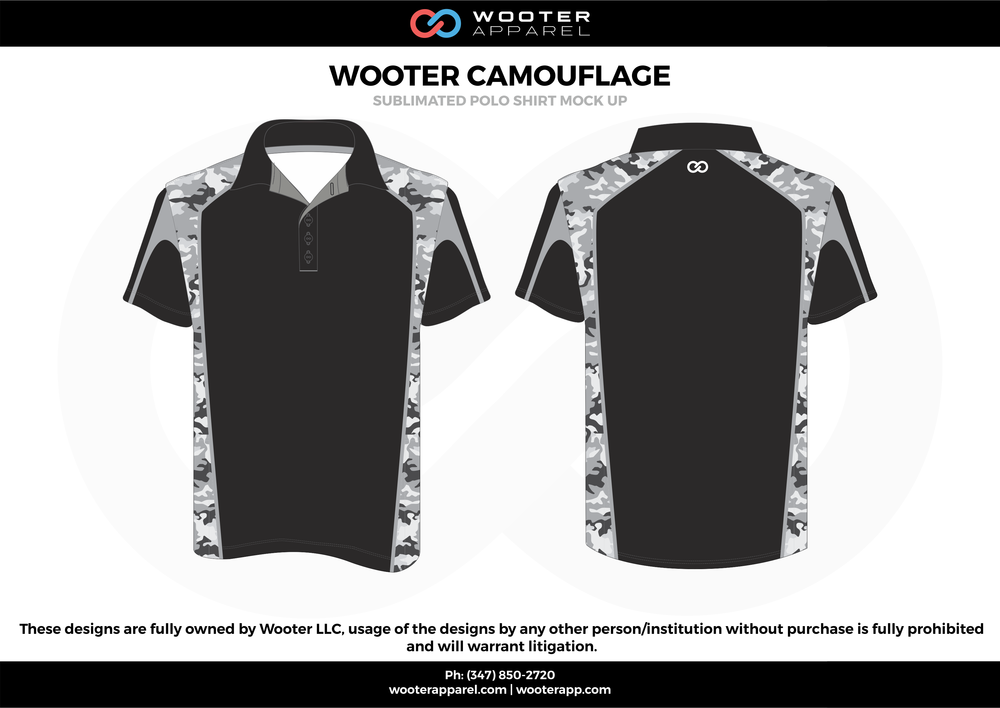 WOOTER CAMOUFLAGE black white gray Polo Shirts