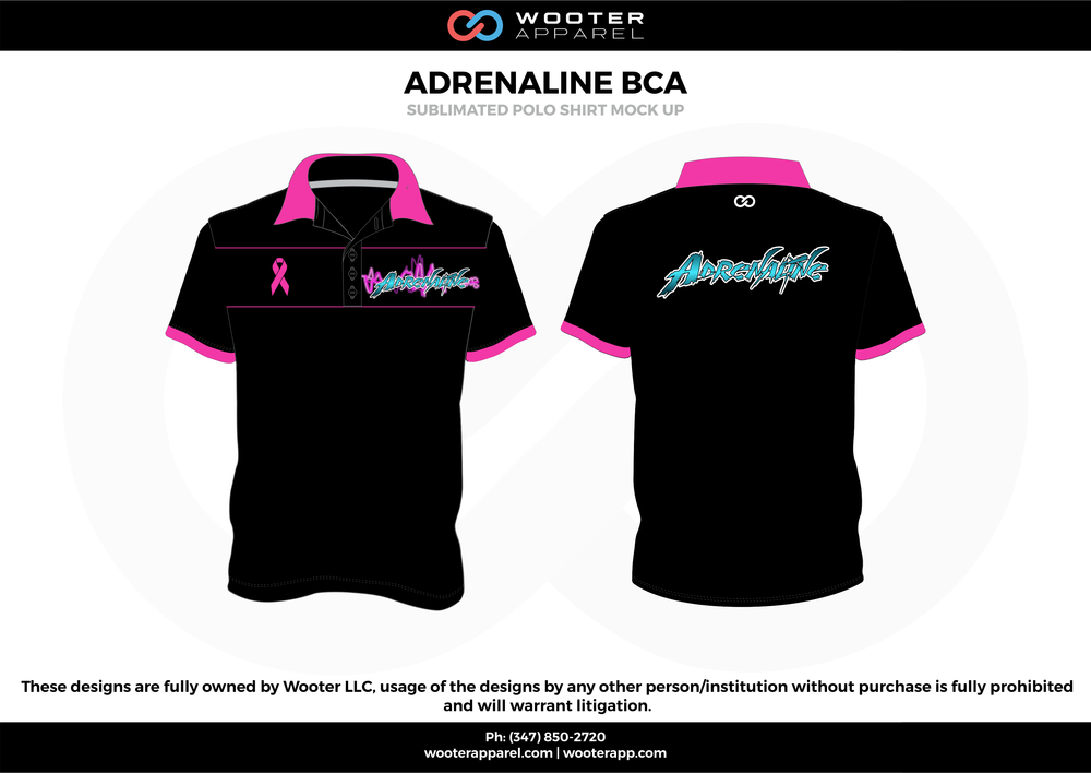 ADRENALINE BCA black pink blue Polo Shirts