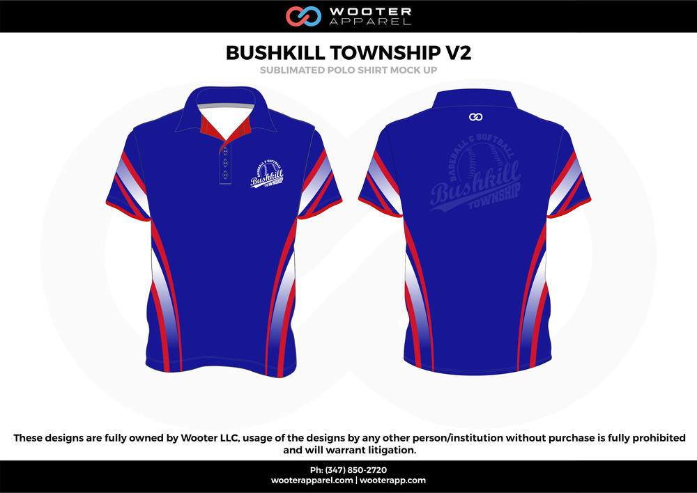 BUSHKILL TOWNSHIP V2 blue red white gray Polo Shirts