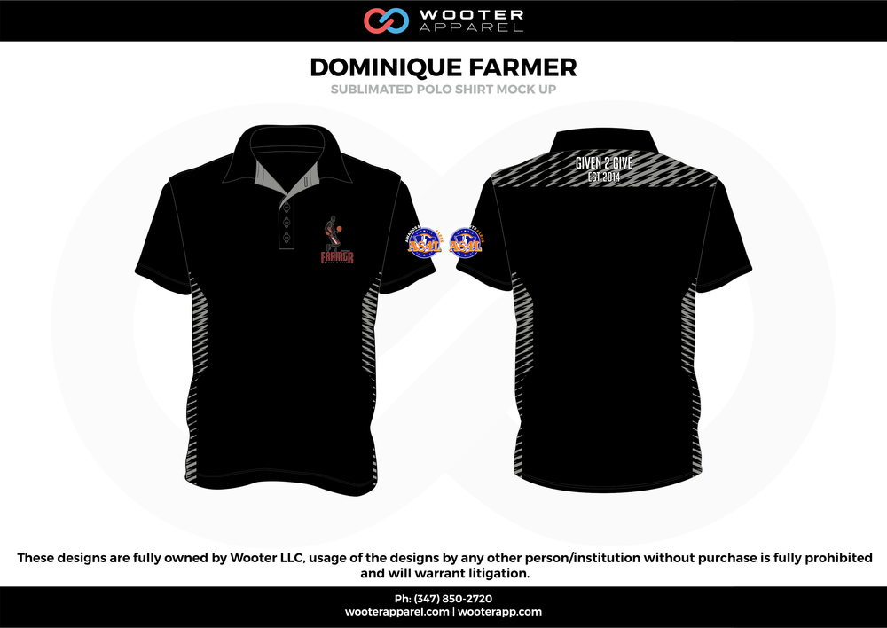 DOMINIQUE FARMER black gray Polo Shirts