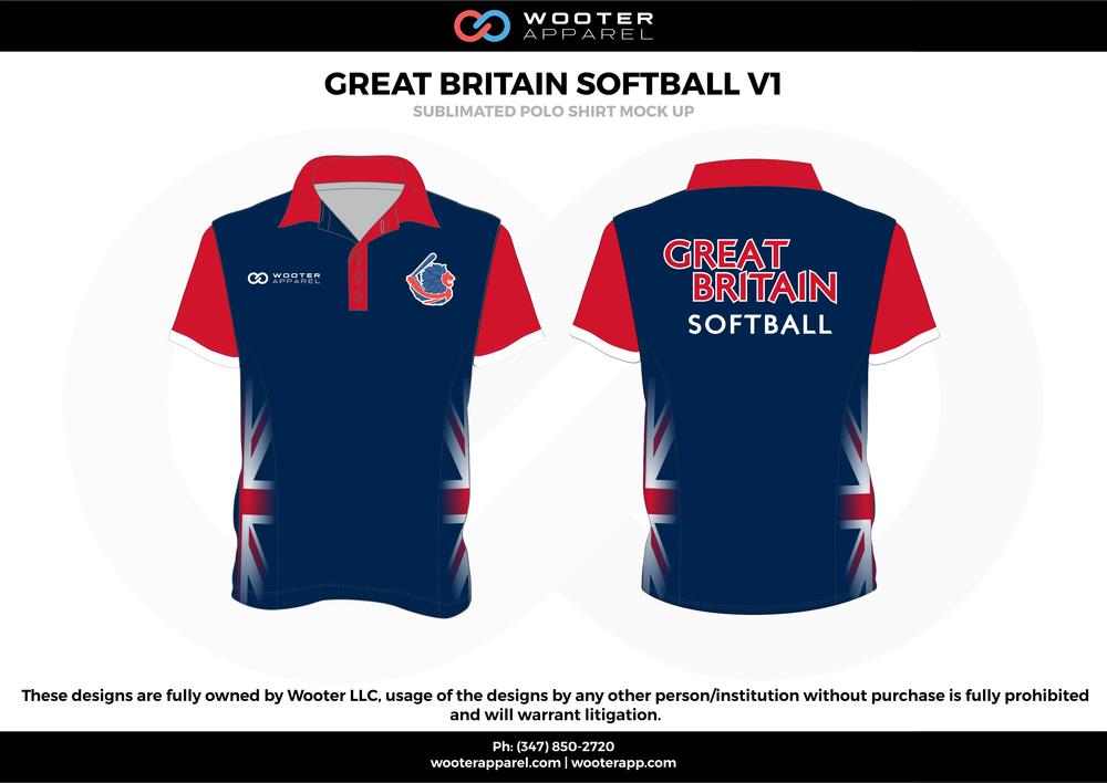 GREAT BRITAIN SOFTBALL VI blue red white Polo Shirts