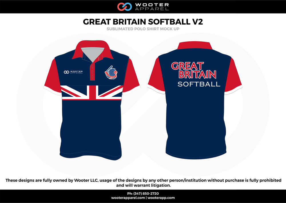 GREAT BRITAIN SOFTBALL V2 blue red white Polo Shirts
