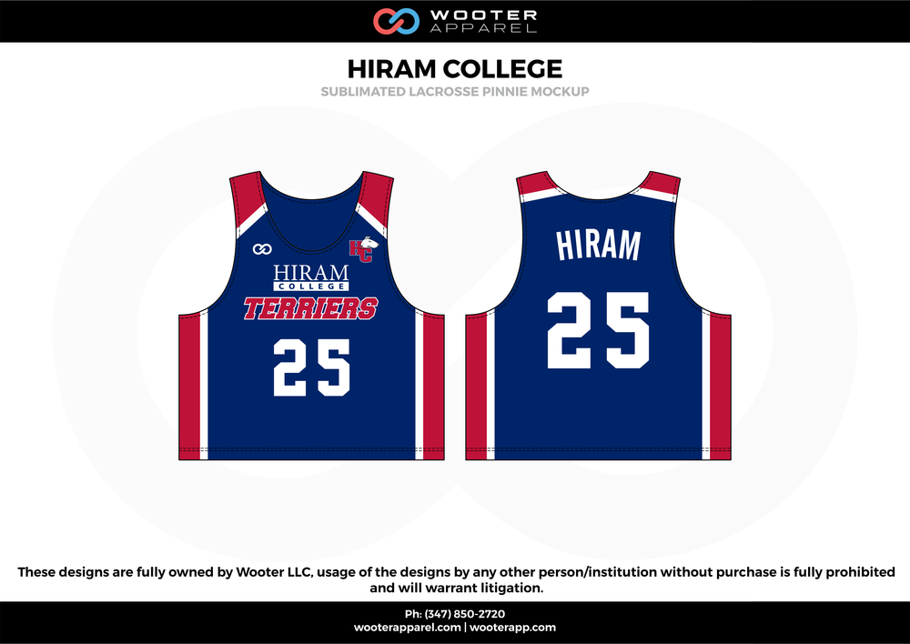 HIRAM COLLEGE blue red white Lacrosse uniforms reversible pinnies jerseys