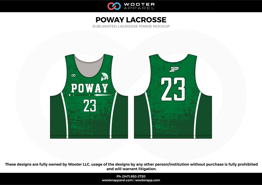 POWAY LACROSSE green and white Lacrosse uniforms reversible pinnies jerseys