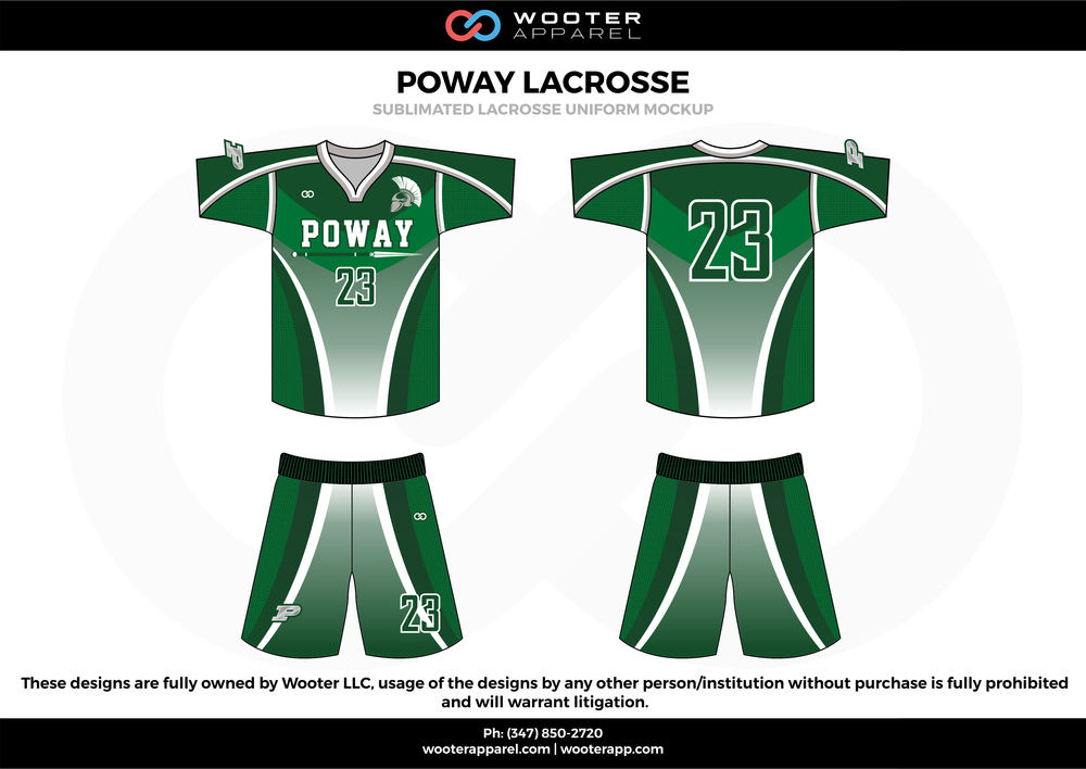 POWAY LACROSSE green white black Lacrosse uniforms jerseys shirts shorts