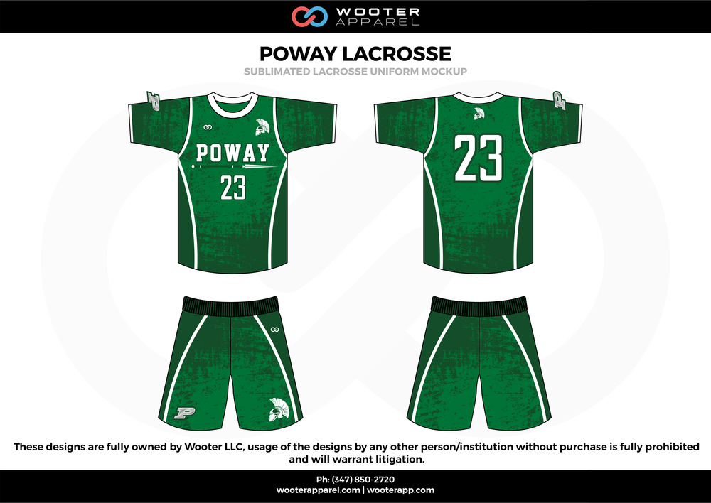 POWAY LACROSSE green white and black Lacrosse uniforms jerseys shirts shorts