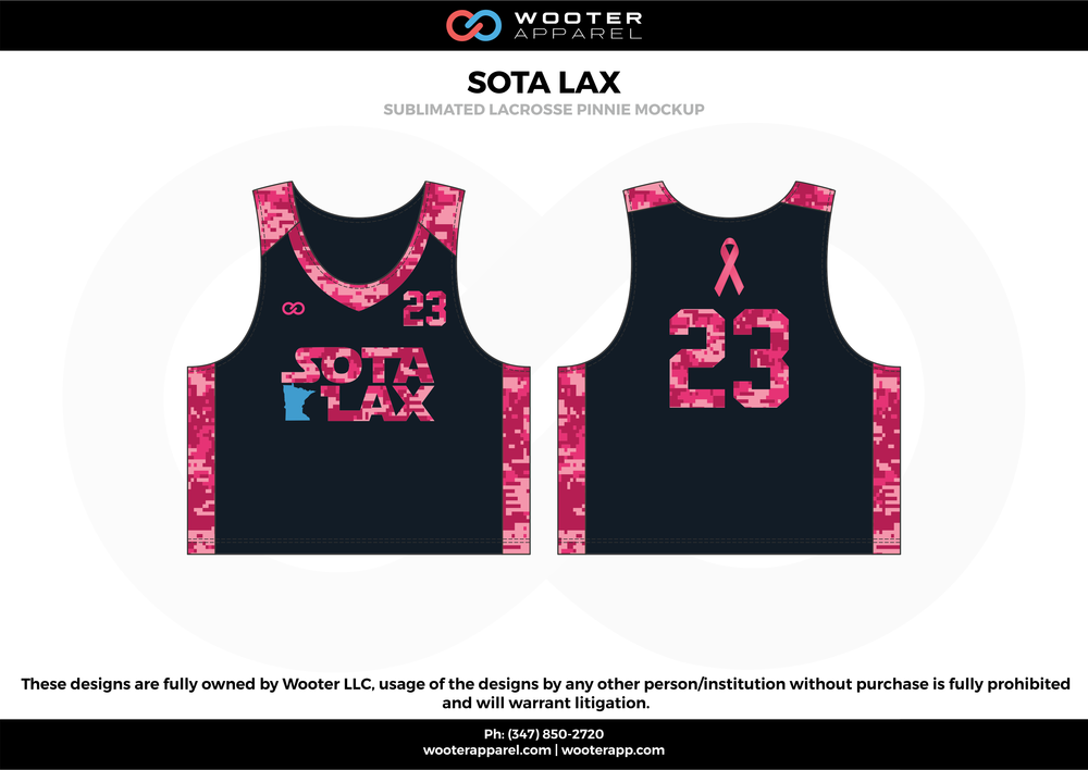SOTA LAX pink black blue Lacrosse uniforms reversible pinnies jerseys