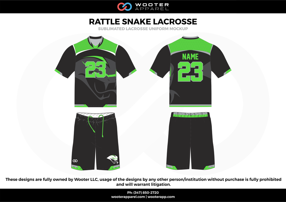 RATTLE SNAKE LACROSSE green black gray Lacrosse uniforms jerseys shirts shorts
