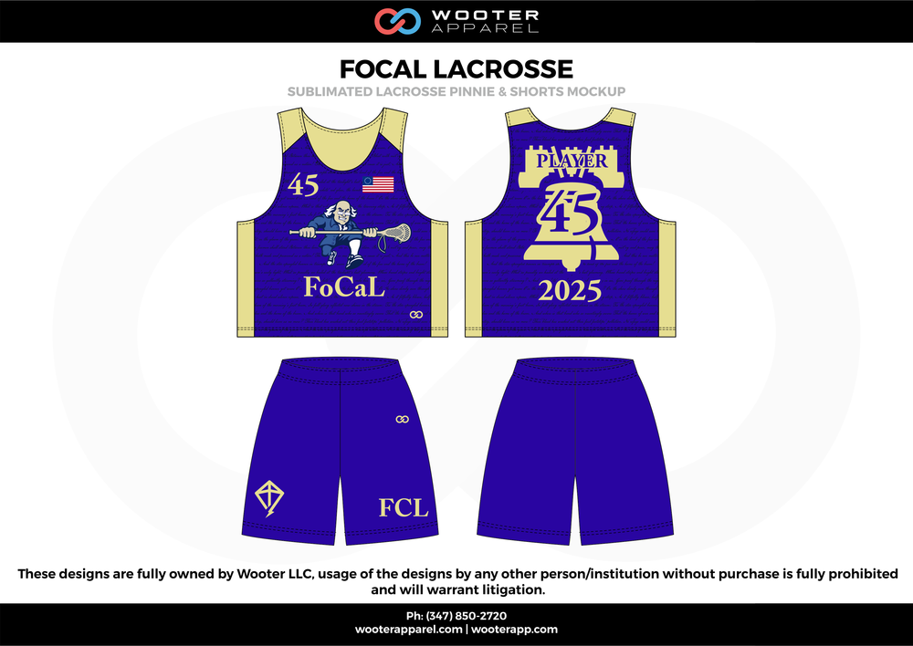FOCAL LACROSSE blue beige Lacrosse uniforms reversible pinnies jerseys shorts
