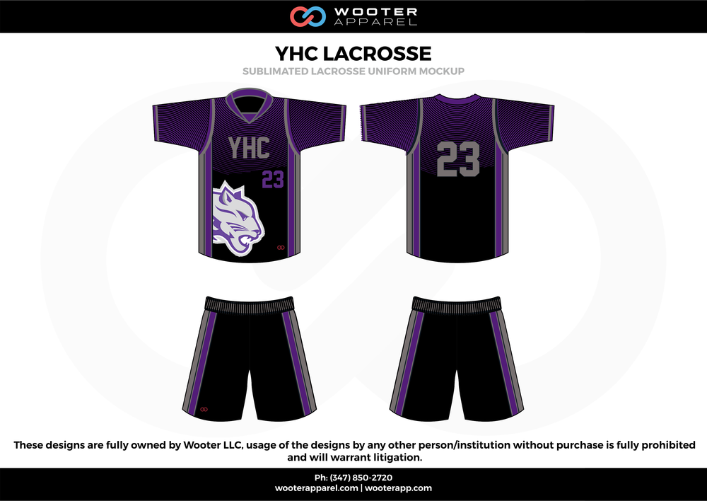 YHC LACROSSE purple black and white Lacrosse uniforms jerseys shirts shorts
