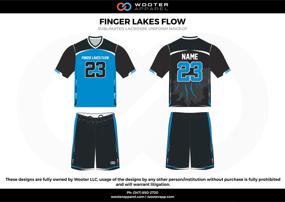 FINGER LAKES FLOW blue black white Lacrosse uniforms jerseys shirts shorts