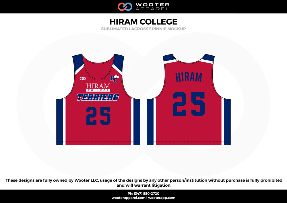 HIRAM COLLEGE red blue white Lacrosse uniforms reversible pinnies jerseys