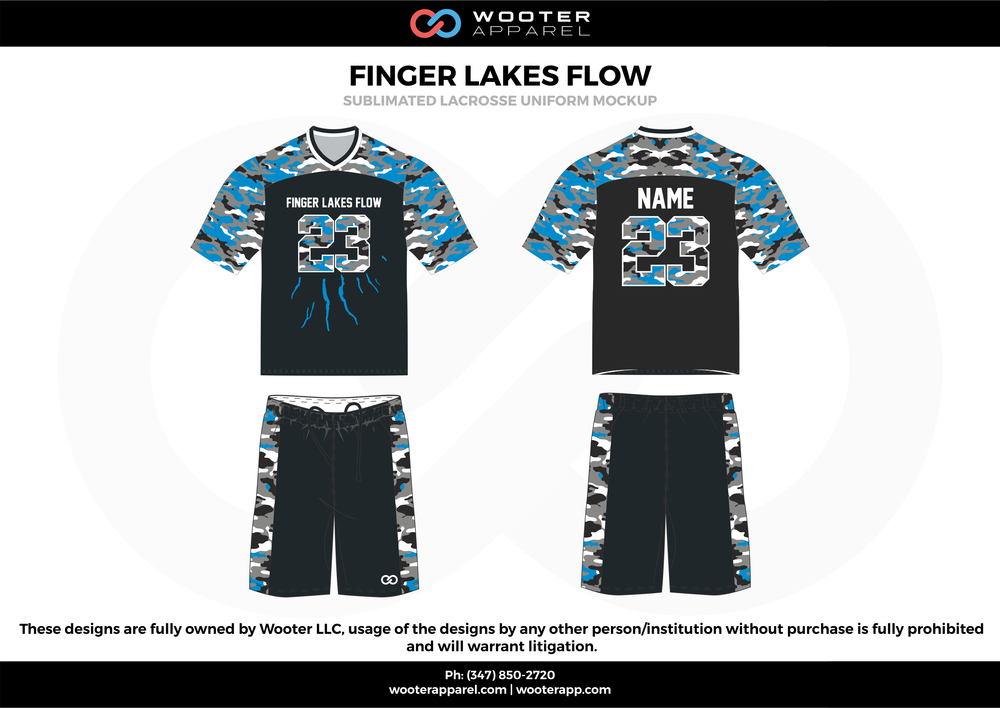 FINGER LAKES FLOW black blue white Lacrosse uniforms jerseys shirts shorts