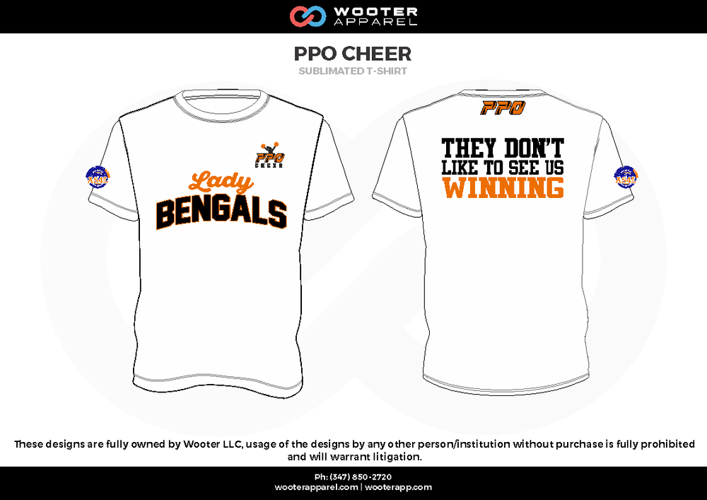 PPO CHEER white black orange Short Sleeve Shirt