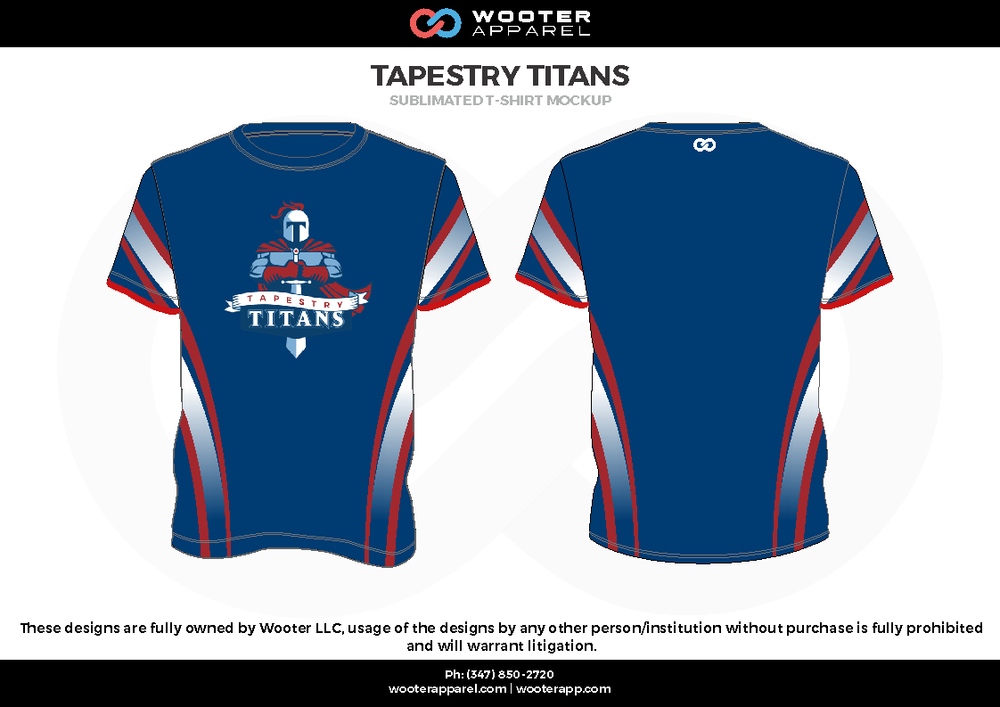TAPESTRY TITANS  blue red gray white Short Sleeve Shirt