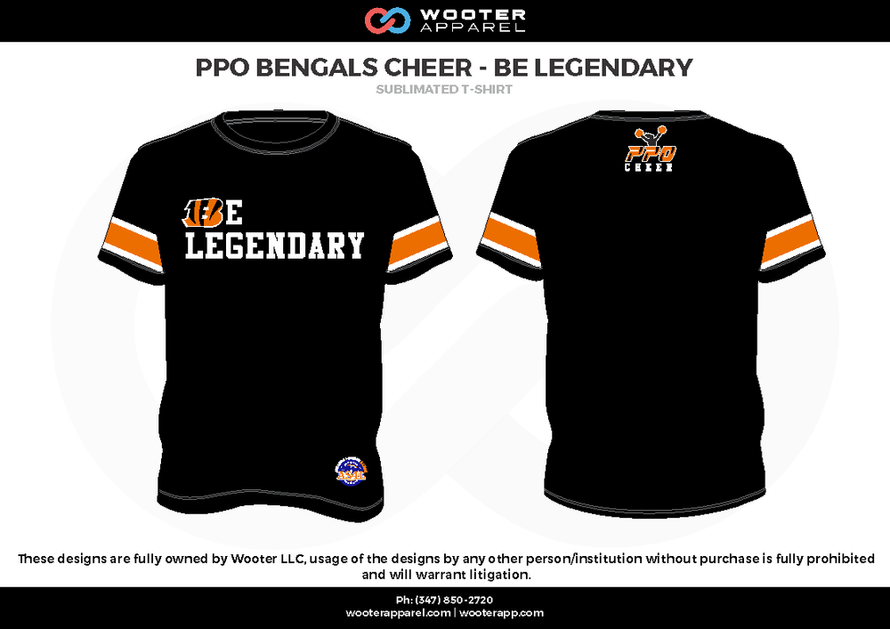 PPO BENGALS CHEER - BE LEGENDARY black white orange Short Sleeve Shirt