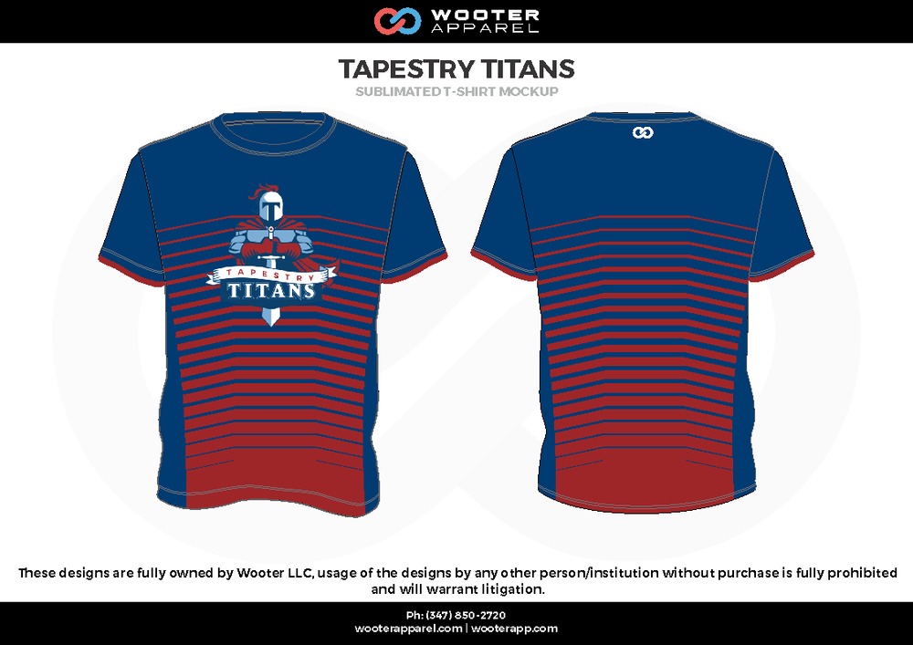 TAPESTRY TITANS blue red white Short Sleeve Shirt