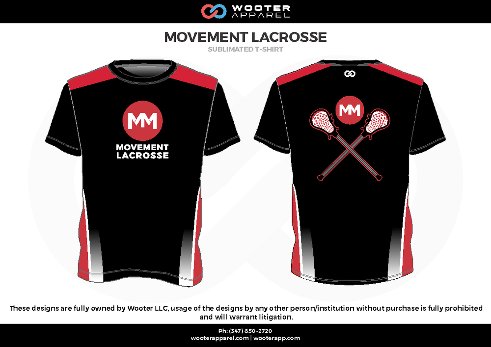 MOVEMENT LACROSSE black white red Short Sleeve Shirt