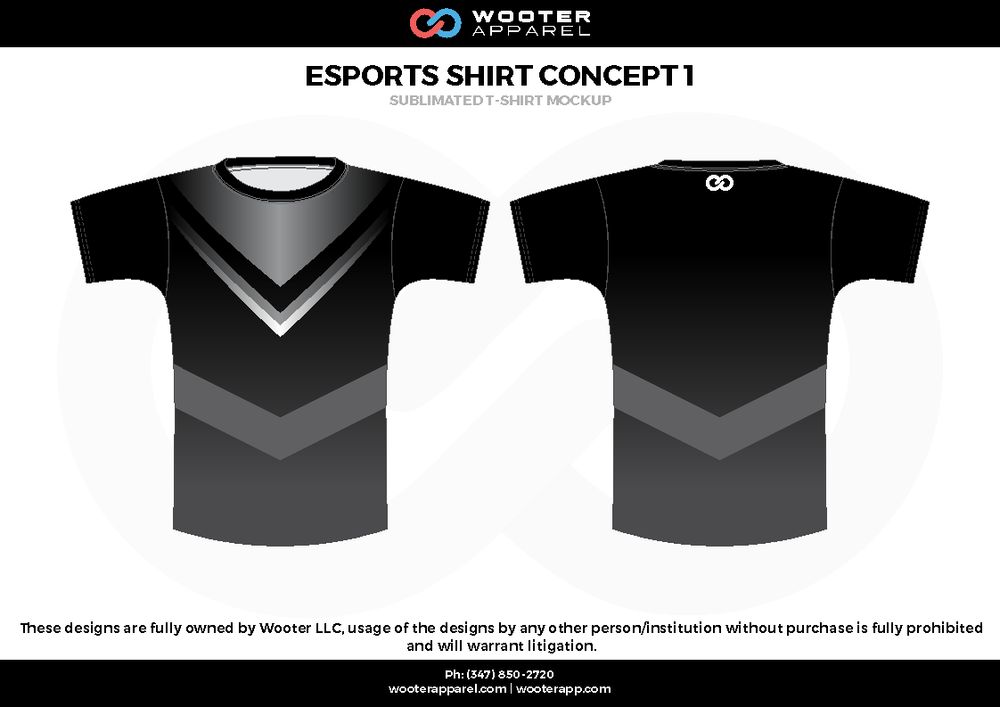 ESPORTS SHIRT CONCEPT 1  black white gray  e-sports jerseys, shirts, uniforms
